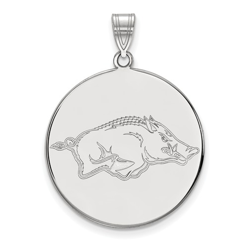 Sterling Silver 1in University of Arkansas Round Pendant