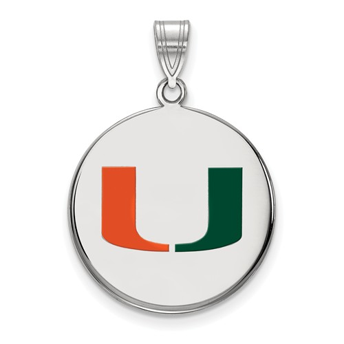 Sterling Silver 3/4in University of Miami U Enamel Round Pendant