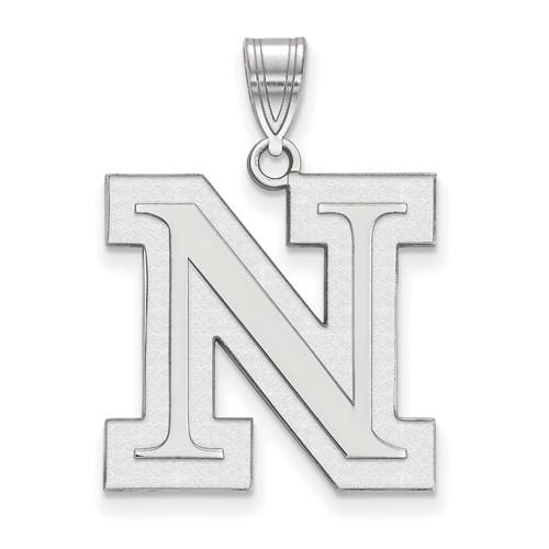 Sterling Silver 3/4in University of Nebraska Outline N Pendant