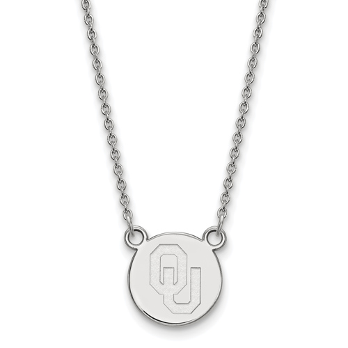 Silver 1/2in University of Oklahoma OU Pendant with 18in Chain