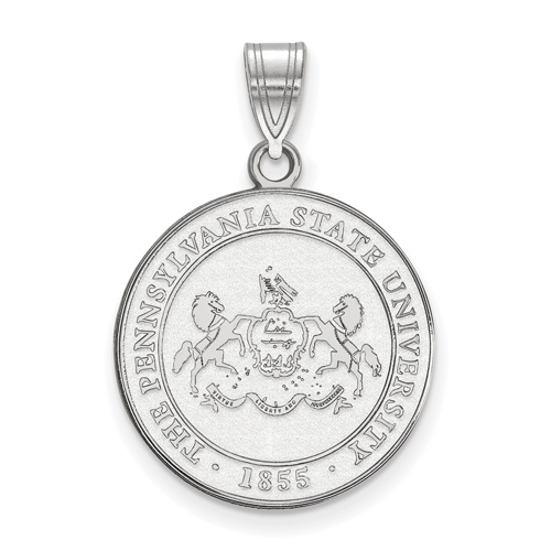 Sterling Silver 3/4in Penn State University Crest Disc Pendant