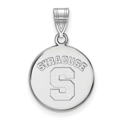 Syracuse University Disc Pendant 5/8in Sterling Silver
