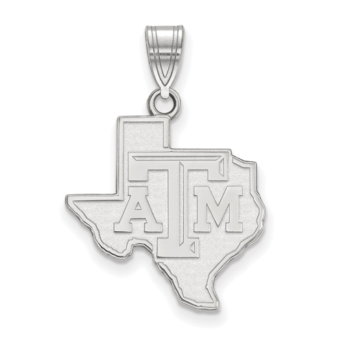 Sterling Silver 3/4in Texas A&M University State Outline Pendant