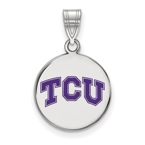 Sterling Silver 5/8in Texas Christian University Enamel Disc Pendant