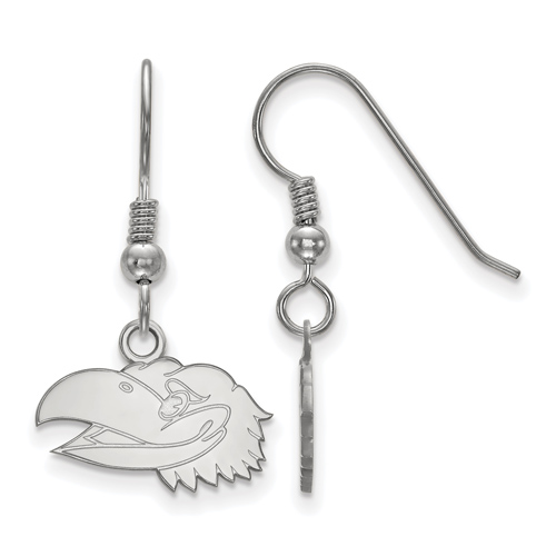 Sterling Silver University of Kansas XS Jayhawks Face Dangle Earrings
