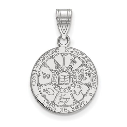 Sterling Silver 5/8in University of Nebraska Crest Pendant
