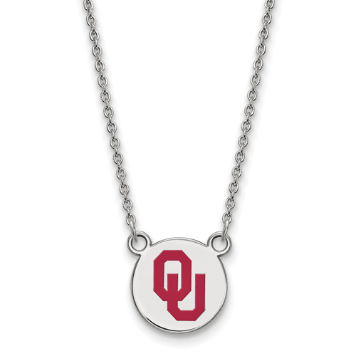 Sterling Silver 1/2in University of Oklahoma OU Enamel Pendant with 18in Chain