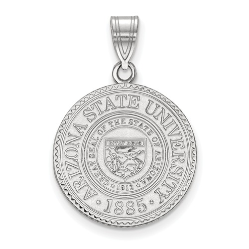 Arizona State University Crest Pendant 3/4in Sterling Silver