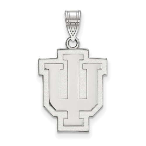 Sterling Silver 3/4in Indiana University Outline Logo Pendant