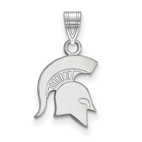 Sterling Silver 1/2in Michigan State University Spartan Helmet Pendant