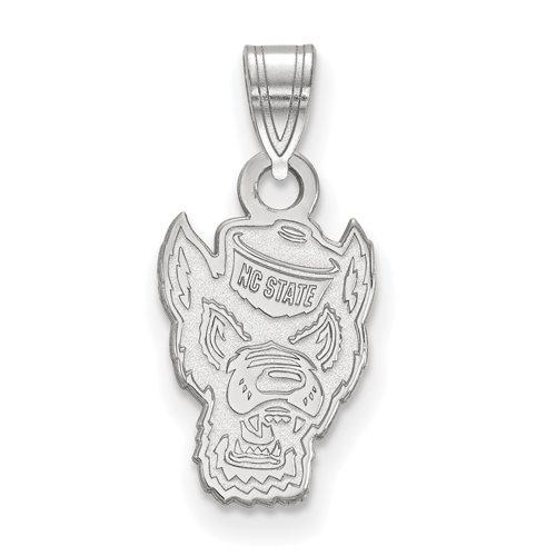 Sterling Silver 1/2in North Carolina State University Mr. Wuf Pendant