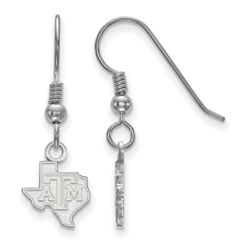 Sterling Silver Texas A&M University State Outline Extra Small Dangle Earrings