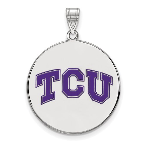 Sterling Silver 1in Texas Christian University TCU Round Enamel Pendant