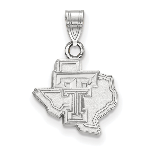 Sterling Silver 1/2in Texas Tech University State Map Pendant
