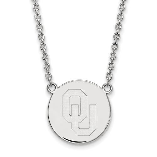 Sterling Silver University of Oklahoma Logo Pendant with 18in Chain