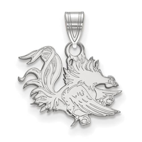 Sterling Silver 1/2in University of South Carolina Gamecock Pendant