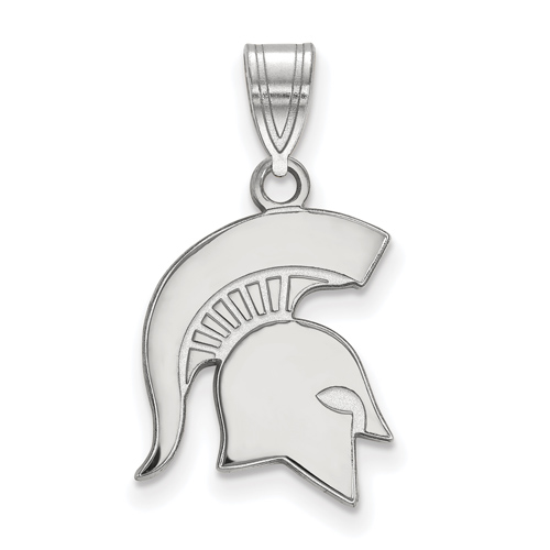Sterling Silver 5/8in Michigan State University Spartan Helmet Pendant