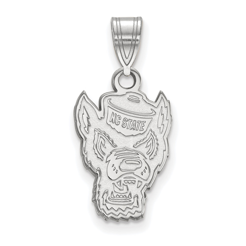 Sterling Silver 5/8in North Carolina State University Mr. Wuf Pendant