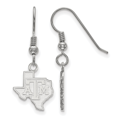 Sterling Silver Texas A&M University State Outline Dangle Wire Earrings