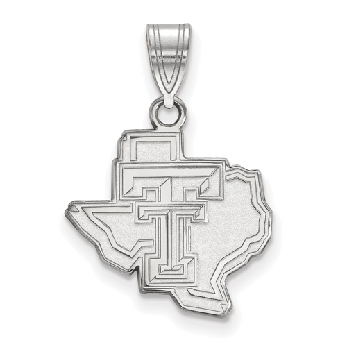 Sterling Silver 5/8in Texas Tech University State Map Pendant