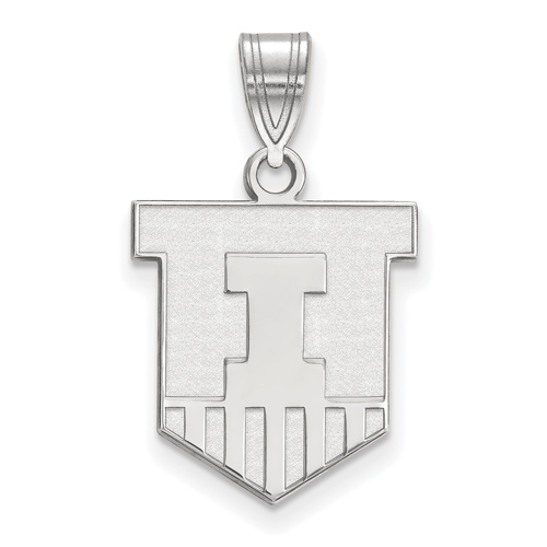 Sterling Silver 5/8in University of Illinois Victory Badge Pendant