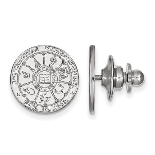 14kt White Gold University of Nebraska Crest Lapel Pin