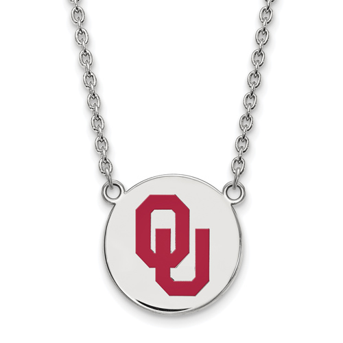 Sterling Silver University of Oklahoma OU Enamel Disc Pendant with 18in Chain