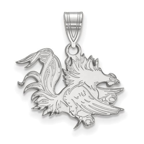 Sterling Silver 5/8in University of South Carolina Gamecock Pendant