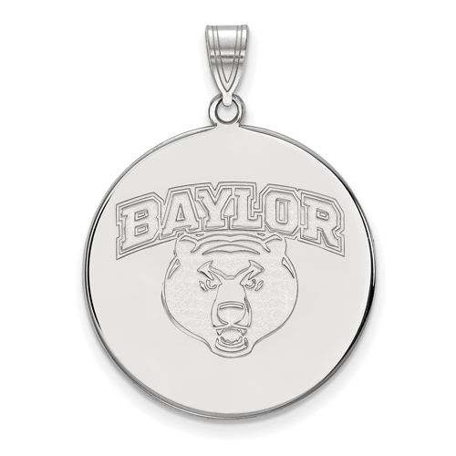 Sterling Silver 1in Baylor University Wildcat Round Pendant