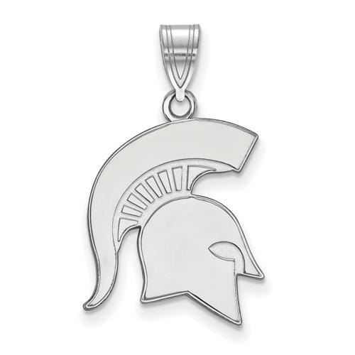 Sterling Silver 3/4in Michigan State University Spartan Helmet Pendant