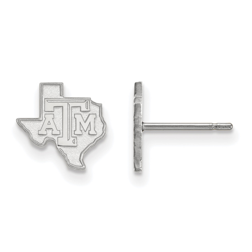 Sterling Silver Texas A&M University Extra Small State Outline Post Earrings