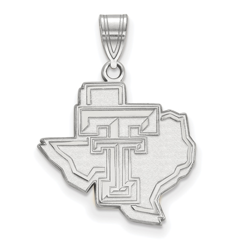 Sterling Silver 3/4in Texas Tech University State Map Pendant