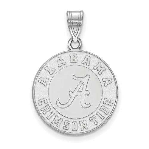 Sterling Silver Round Alabama Crimson Tide Pendant