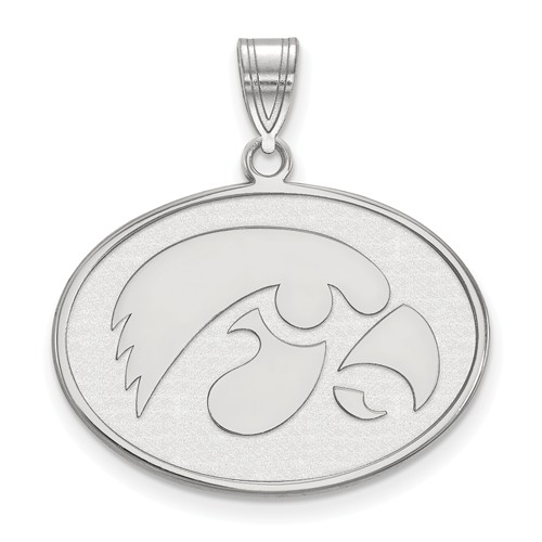 University of Iowa Oval Pendant 3/4in Sterling Silver