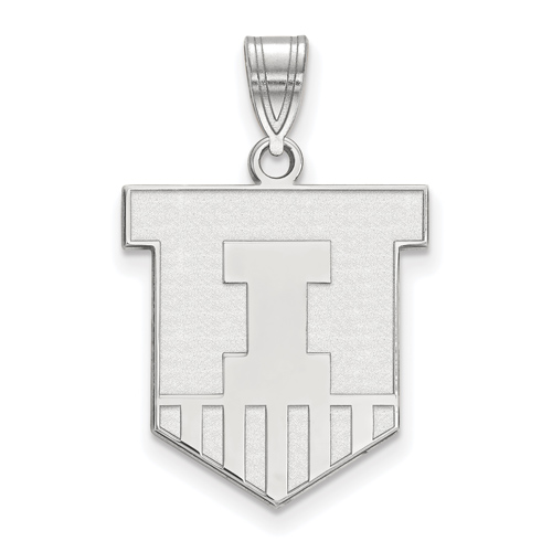 Sterling Silver 3/4in University of Illinois Victory Badge Pendant