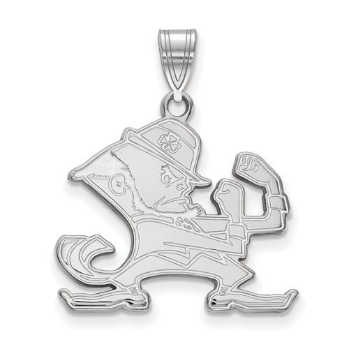 Sterling Silver 7/8in University of Notre Dame Leprechaun Pendant