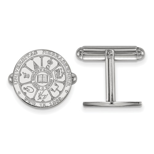 Sterling Silver University of Nebraska Crest Cuff Links