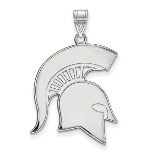 Sterling Silver 1in Michigan State University Spartan Helmet Pendant