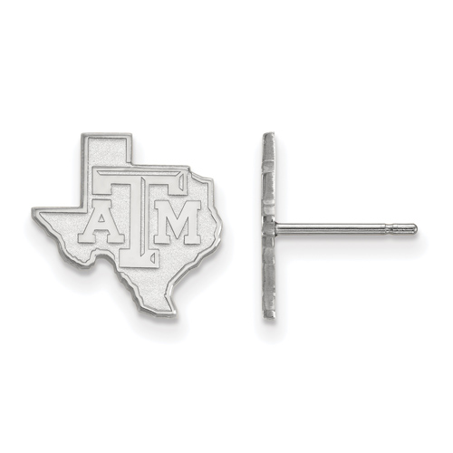Sterling Silver Texas A&M University State Outline Small Post Earrings