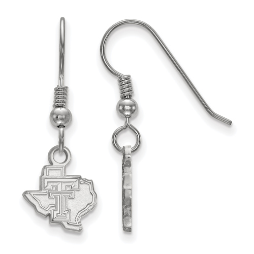 Sterling Silver Texas Tech University State Map Extra Small Dangle Earrings