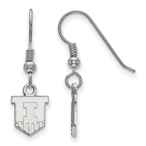 Silver University of Illinois Small Victory Badge Dangle Earrings