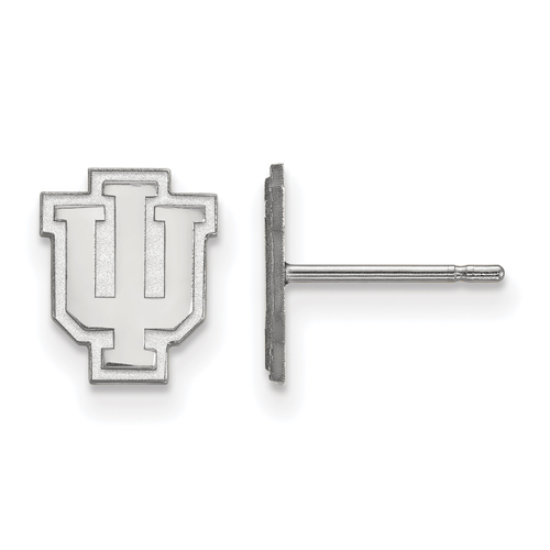 Silver Indiana University Extra Small Outline Logo Post Earrings