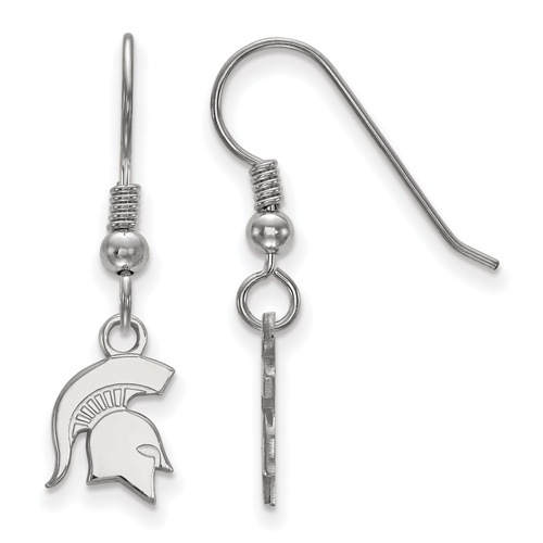 Silver Michigan State Spartan Helmet Extra Small Dangle Earrings
