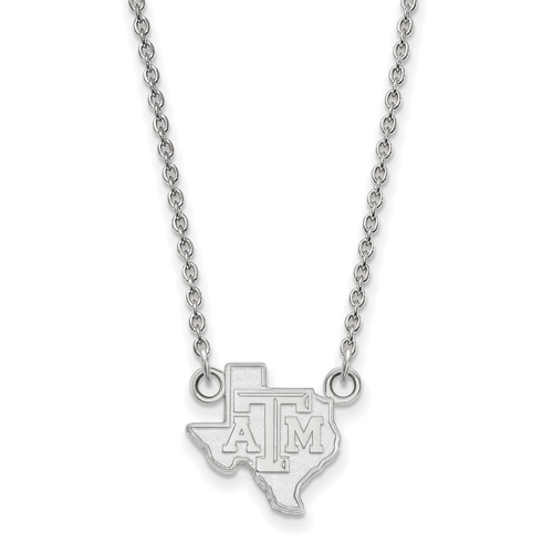 Silver Texas A&M University State Outline Pendant with 18in Chain