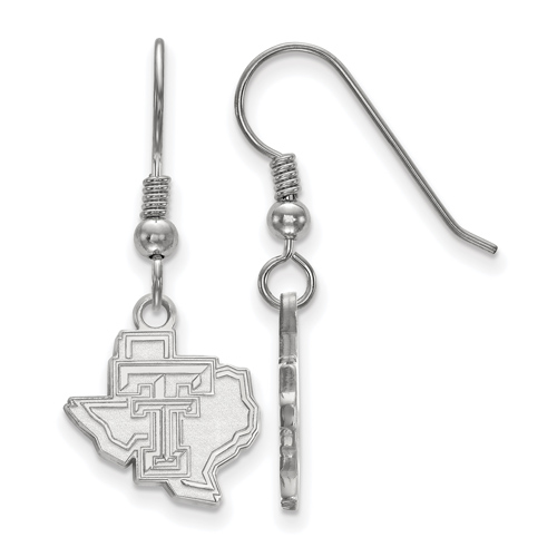 Sterling Silver Texas Tech University State Map Dangle Wire Earrings