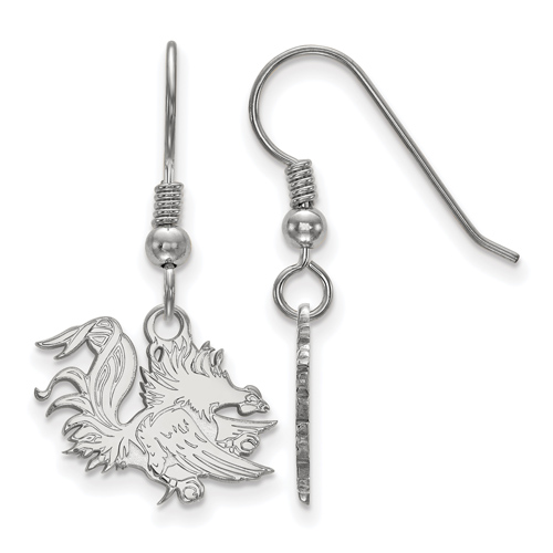 Sterling Silver University of South Carolina Gamecock Dangle Wire Earrings