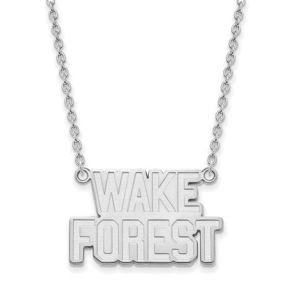 Wake Forest University Logo Necklace 3/4in Sterling Silver
