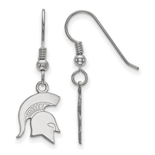 Sterling Silver Michigan State University Spartan Helmet Dangle Wire Earrings