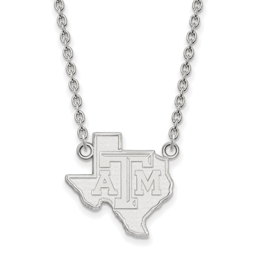 Sterling Silver 3/4in Texas A&M University State Outline Pendant with 18in Chain