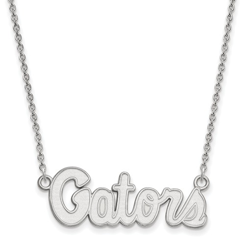 Sterling Silver 1/2in University of Florida Gators Script Pendant with 18in Chain